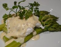 sparagus and poached egg parmesan sauce